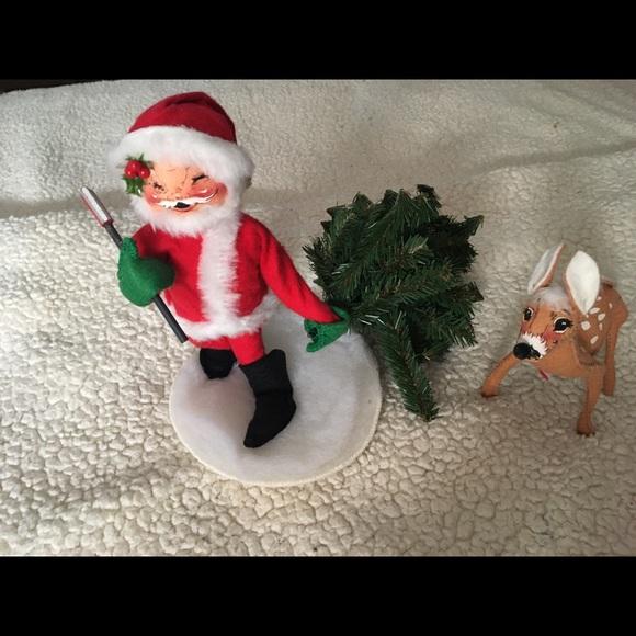 Annalee Doll 1991 Christmas Tree Holding Axe deer